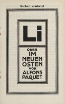 Li. Oder Im Neuen Osten von Alfons Paquet [ulotka]