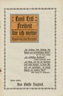 Emil Ertl - Freiheit, die ich meine. Roman aus dem Sturmjahr [ulotka]