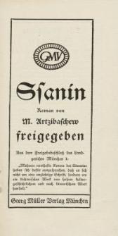 Ssanin : Roman von M. Artzibaschew [ulotka]