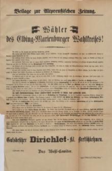 Beilage zur Altpreußischen Zeitung. Wähler des Elbing-Marienburger Wahlkreises!