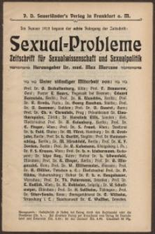 Sexual=Probleme...Zeitschrift für Sexualwissenschaft und Sexualpolitik [ulotka]