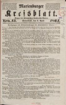 Marienburger Kreisblatt [...] nr 15, Sonnabend, 9. April 1864,.