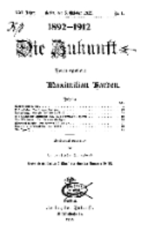 Die Zukunft, 5. Oktober, Jahrg. XXI, Bd. 81, Nr 1.
