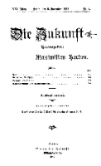Die Zukunft, 9. November, Jahrg. XXI, Bd. 81, Nr 6.