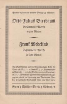 Otto Julius Bierbaum...Frank Wedekind [ulotka]