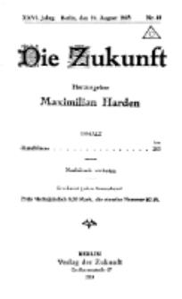 Die Zukunft, 24. August, Jahrg. XXVI, Bd. 102, Nr 39.