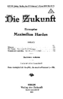 Die Zukunft, 22. Februar, Jahrg. XXVII, Bd. 104, Nr 20/21.