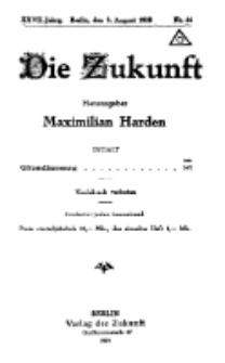 Die Zukunft, 9. August, Jahrg. XXVII, Bd. 106, Nr 44.