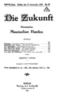 Die Zukunft, 13. September, Jahrg. XXVII, Bd. 106, Nr 49.