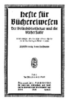 Hefte für Büchereiwesen. Der Volksbibliothekar und die Bücherhalle, 12. Band, H. 5.