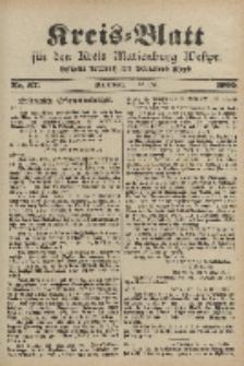 Kreis-Blatt für den Kreis Marienburg Westpreussen, 13. Mai, Nr 37.