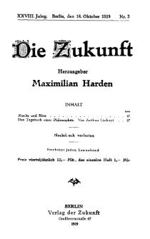 Die Zukunft, 18. Oktober, Jahrg. XXVIII, Bd. 107, Nr 3.