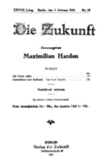 Die Zukunft, 7. Februar, Jahrg. XXVIII, Bd. 108, Nr 19.