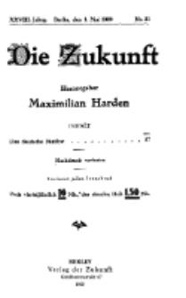 Die Zukunft, 1. Mai, Jahrg. XXVIII, Bd. 109, Nr 31.