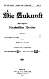 Die Zukunft, 8. Mai, Jahrg. XXVIII, Bd. 109, Nr 32.