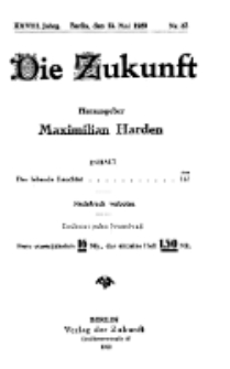 Die Zukunft, 15. Mai, Jahrg. XXVIII, Bd. 109, Nr 33.