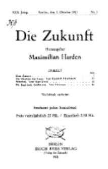 Die Zukunft, 1. Oktober, Jahrg. XXX, Bd. 115, Nr 1.