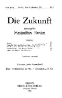 Die Zukunft, 29. Oktober, Jahrg. XXX, Bd. 115, Nr 5.