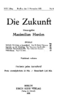 Die Zukunft, 5. November, Jahrg. XXX, Bd. 115, Nr 6.