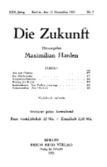 Die Zukunft, 12. November, Jahrg. XXX, Bd. 115, Nr 7.