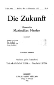 Die Zukunft, 19. November, Jahrg. XXX, Bd. 115, Nr 8.