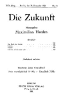 Die Zukunft, 31. Dezember, Jahrg. XXX, Bd. 115, Nr 14.
