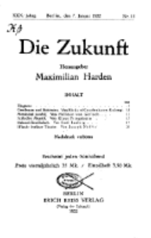 Die Zukunft, 7. Januar, Jahrg. XXX, Bd. 116, Nr 15.