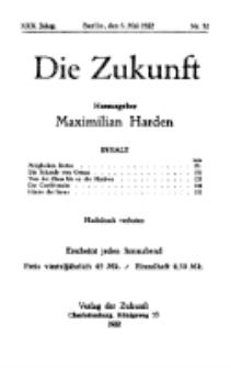 Die Zukunft, 6. Mai , Jahrg. XXX, Bd. 117, Nr 32.