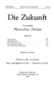 Die Zukunft, 13. Mai , Jahrg. XXX, Bd. 117, Nr 33.