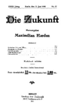 Die Zukunft, 11. Juni, Jahrg. XXIX, Bd. 113, Nr 37.