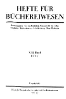 Hefte für Büchereiwesen. Der Volksbibliothekar und die Bücherhalle, 13. Band, H. 1.