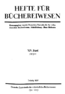 Hefte für Büchereiwesen. Der Volksbibliothekar und die Bücherhalle, 14. Band, H. 1.