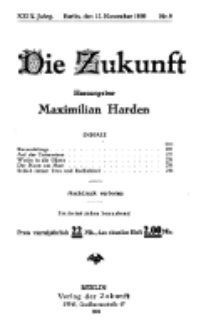 Die Zukunft, 27. November, Jahrg. XXIX, Bd. 111, Nr 9.