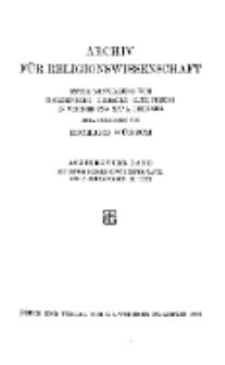 Archiv für Religionswissenschaft, 3. September 1915, Bd. 18, H. 1-4.