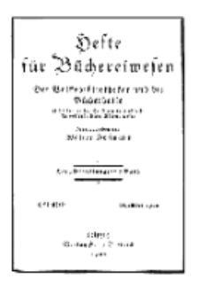 Hefte für Büchereiwesen. Der Volksbibliothekar und die Bücherhalle, Abteilung A, 7. Band, H. 2/3.
