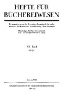 Hefte für Büchereiwesen. Der Volksbibliothekar und die Bücherhalle, 15. Band, H. 1.