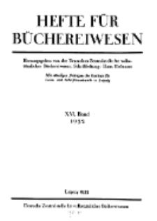 Hefte für Büchereiwesen. Der Volksbibliothekar und die Bücherhalle, 16. Band, H. 1.