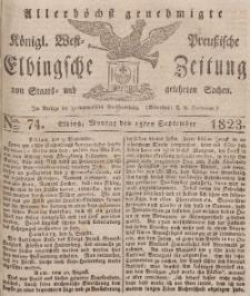 Elbingsche Zeitung, No. 74 Montag, 15 September 1823