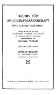 Archiv für Religionswissenschaft, 20. August 1912, Bd. 15, H. 3-4.