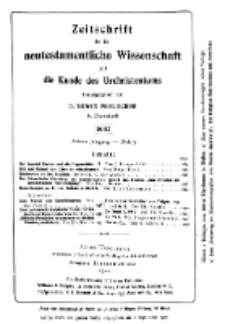 Zeitschrift für die neutestamentliche Wissenschaft und die Kunde des Urchrichstemtums, Jg. 8. 1907, H. 3.