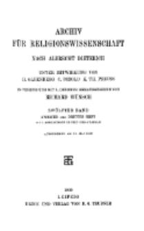 Archiv für Religionswissenschaft, 18. Mai 1909, Bd. 12, H. 2-3.