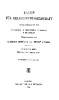 Archiv für Religionswissenschaft, 12. Juli 1904, Bd. 7, H. 3-4.