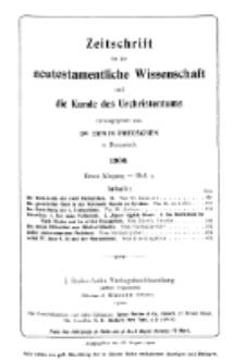 Zeitschrift für die neutestamentliche Wissenschaft und die Kunde des Urchrichstemtums, Jg. 1. 1900, H. 3.