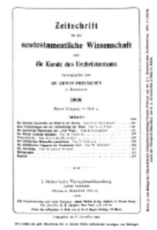 Zeitschrift für die neutestamentliche Wissenschaft und die Kunde des Urchrichstemtums, Jg. 1. 1900, H. 4.