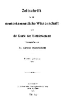Zeitschrift für die neutestamentliche Wissenschaft und die Kunde des Urchrichstemtums, Jg. 5. 1904, H. 1.