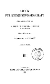 Archiv für Religionswissenschaft, 6. Dezember 1904, Bd. 8, H. 1.