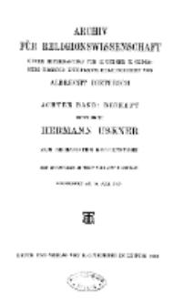 Archiv für Religionswissenschaft, 27. Mai 1905, Bd. 8. (Beiheft)