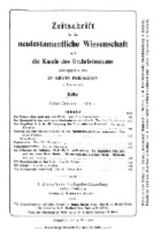 Zeitschrift für die neutestamentliche Wissenschaft und die Kunde des Urchrichstemtums, Jg. 3. 1902, H. 2.