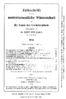Zeitschrift für die neutestamentliche Wissenschaft und die Kunde des Urchrichstemtums, Jg. 3. 1902, H. 4.