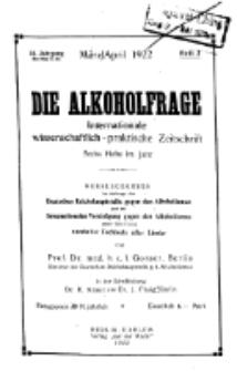 Die Alkoholfrage, 1922, Jg. XVIII, H. 2.